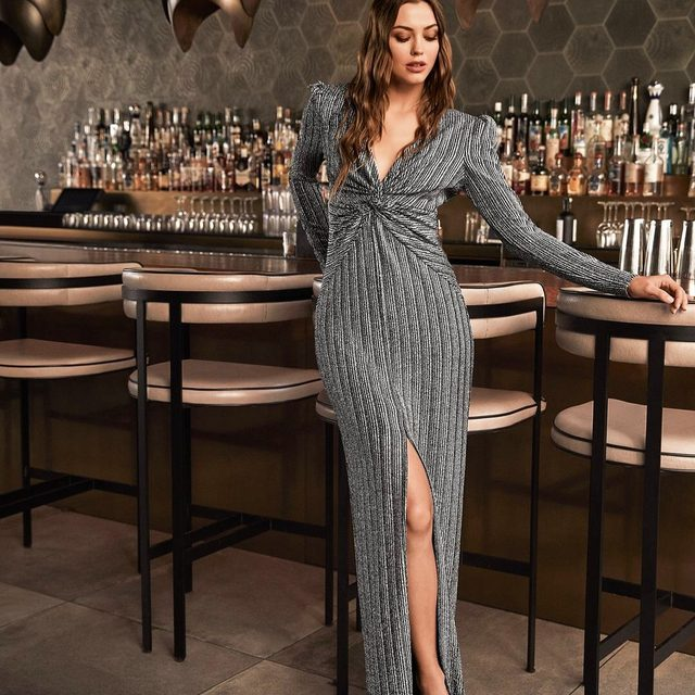 The Nava stretch jersey gown defines relaxed glamour | our Holiday collection is shoppable now at the link in our bio
