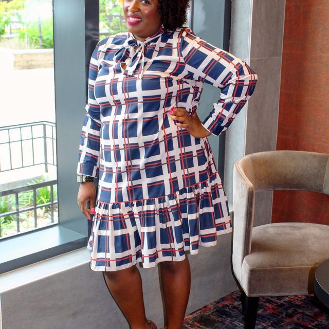a7bcb2d7912 Totally In love with this Tie Neck Ruffle Hem Dress by @eloquii that I wore