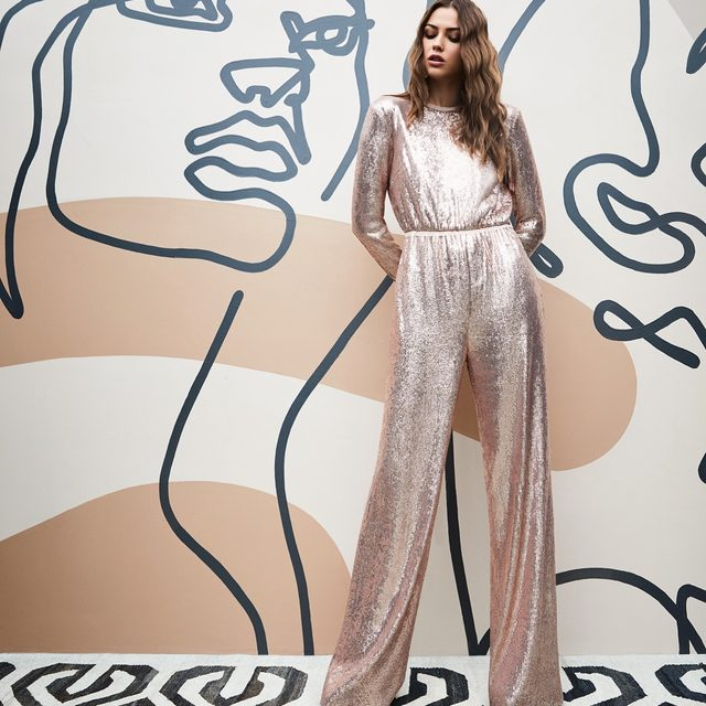 Our favorite fluid sequin is back in an exclusive chic champagne just time in time for the holidays | the Noelle jumpsuit is shoppable now at the link in our bio