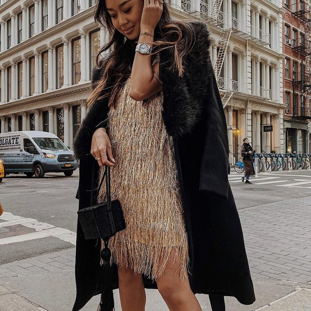 Festive fringe 🖤| shop our Nova mini in time for the holidays at the the link in our bio
